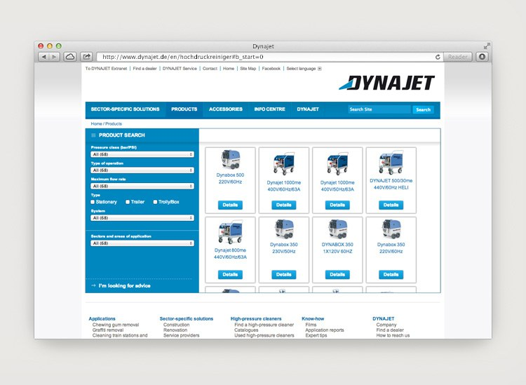 Dynajet Website Produkte